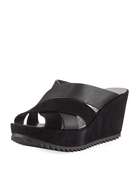 Pedro Garcia Frine Crisscross Wedge Slide Sandal, Black
