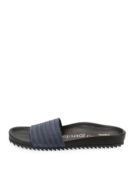 Amparo Flat Satin Slide Sandal, Gunmetal
