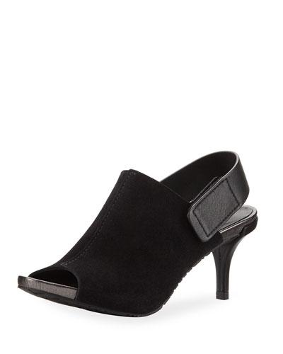 Wynter Suede Mid-Heel Peep-Toe Sandal, Black