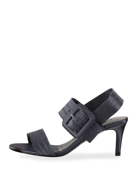 Querly Stitched Satin Mid-Heel Sandal, Gunmetal