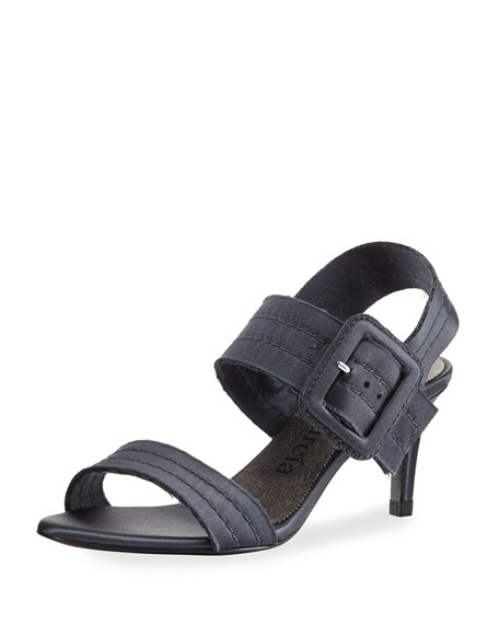 Pedro Garcia Querly Stitched Satin Mid-Heel Sandal, Gunmetal