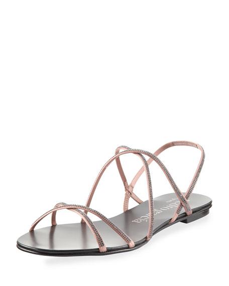 Pedro Garcia Esme Crystal-Embellished Flat Sandal, Powder