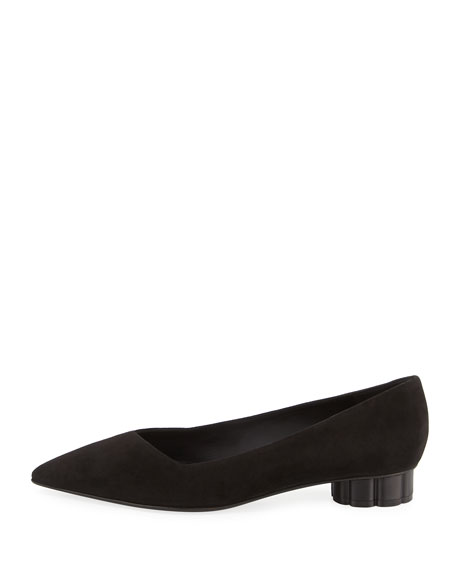 Suede Low Pump, Black