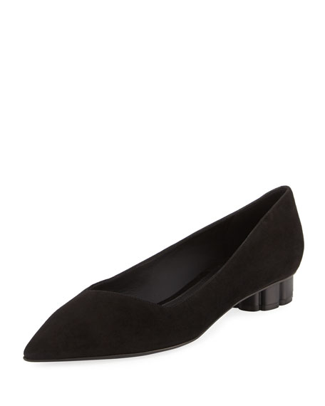 Salvatore Ferragamo Bari Suede Low Pump, Black