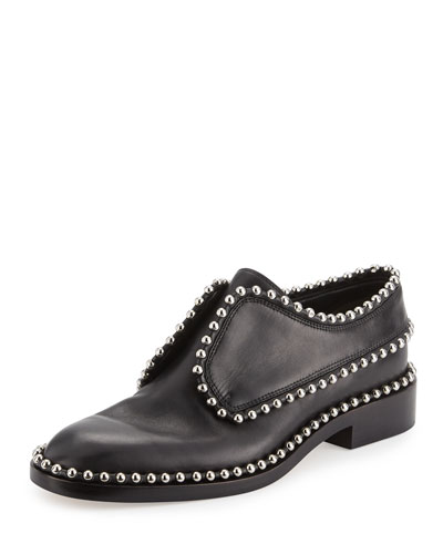 Wendie Studded Leather Slip-On Oxford, Black