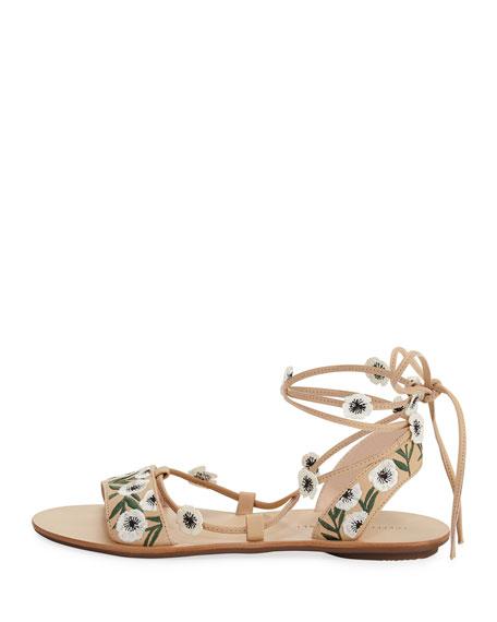 Fleura Ankle-Wrap Flat Leather Sandal, Wheat/Anemone