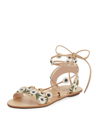 Fleura Ankle-Wrap Flat Leather Sandal, Wheat/Anemone