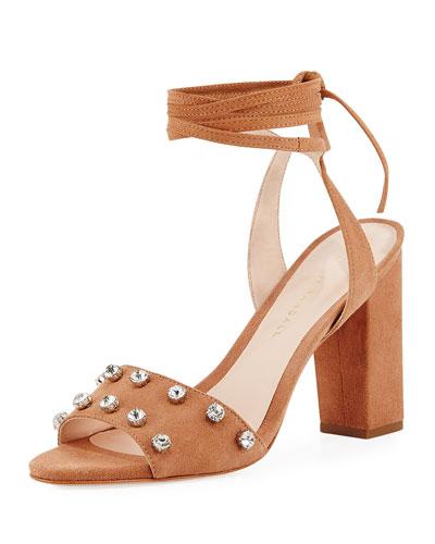 Elayna Suede Embellished Sandal, Deep Blush
