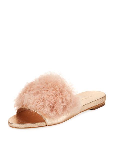Loeffler Randall Domino Flat Shearling Fur Slide Sandal