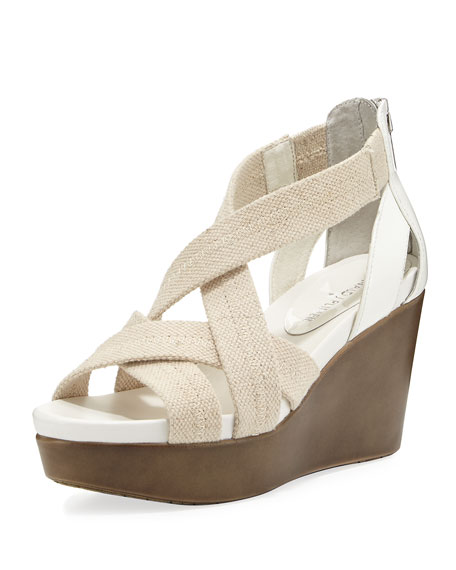 Donald J Pliner Jilli Canvas Wedge Sandal, Nude