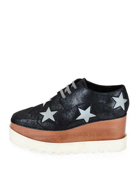 Elyse Stars Faux-Leather Platform Creeper, Gray