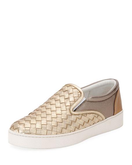 Bottega Veneta Intrecciato Leather Skate Sneaker, Gray
