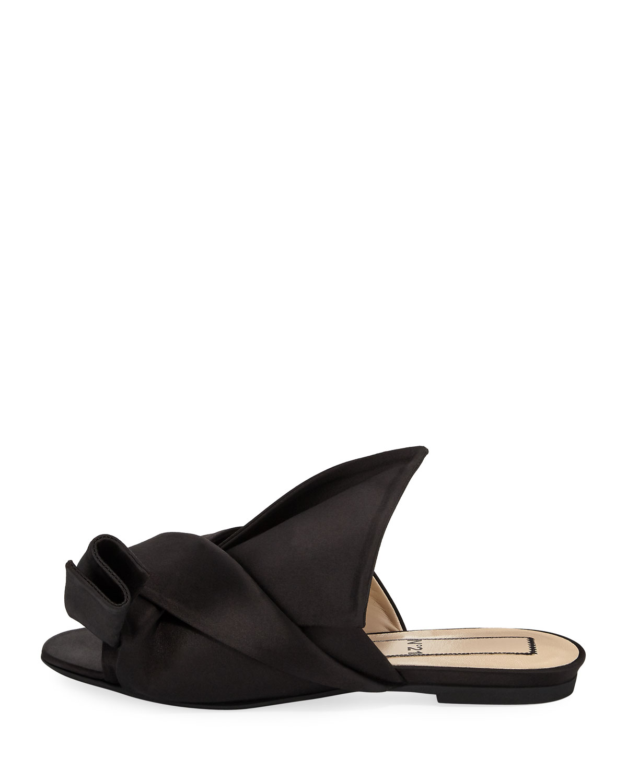 No. 21 Pleated Flat Satin Slide Sandal 4lA0yX