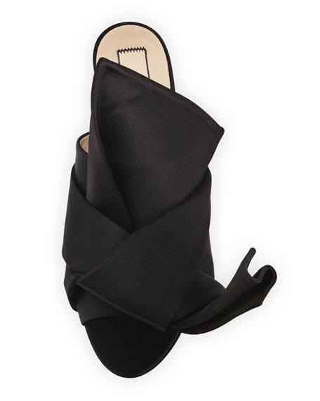 Pleated Flat Satin Slide Sandal
