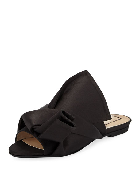 No. 21 Pleated Flat Satin Slide Sandal