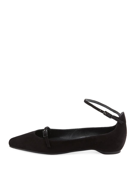 Strap Down Pointed-Toe Suede Flat, Black