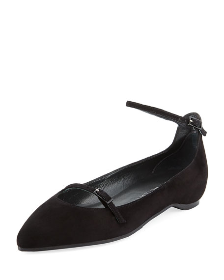Stuart Weitzman Strap Down Pointed-Toe Suede Flat, Black