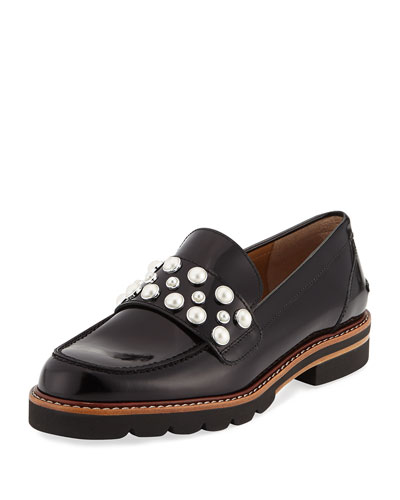 Mocpearl Embellished Lug-Sole Loafer, Jet Mir