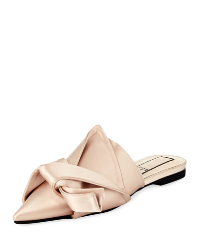Knotted Satin Point-Toe Flat