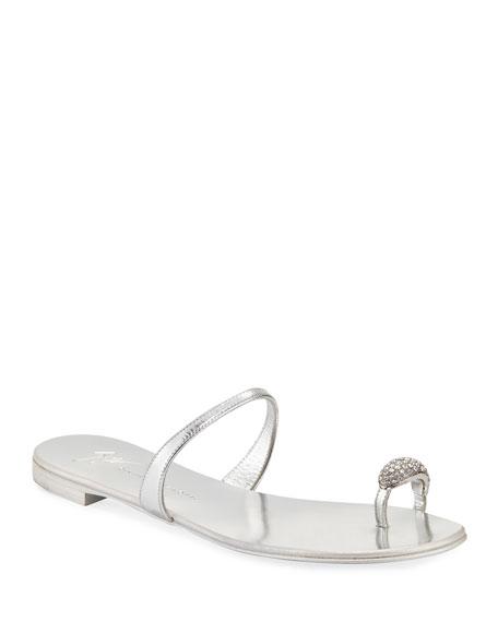 Giuseppe Zanotti Crystal-Embellished Flat Toe-Ring Sandal