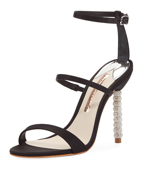 Rosalind Satin Crystal-Heel Sandals