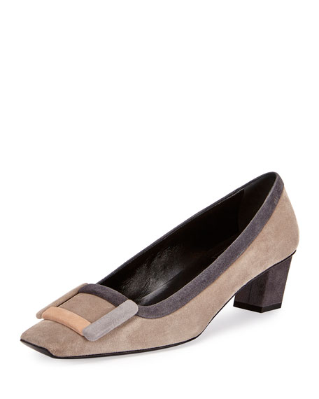 Roger Vivier Belle Vivier Graphic Buckle Pump, Gray