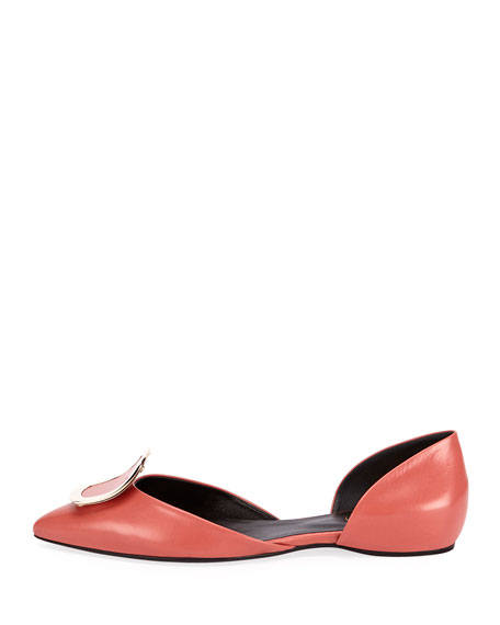 Chips Buckle Smooth Ballerina Flat, Pink