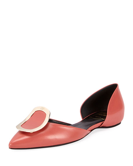 Roger Vivier Chips Buckle Smooth Ballerina Flat, Pink