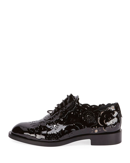 Laser-Cut Lace-Up Derby Oxford, Black