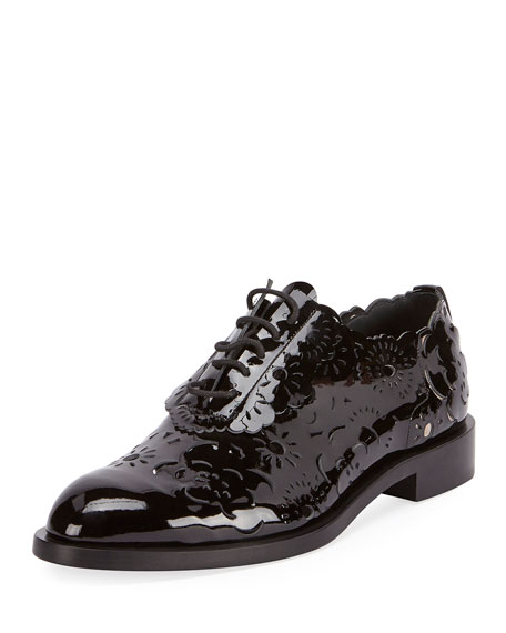 Roger Vivier Laser-Cut Lace-Up Derby Oxford, Black