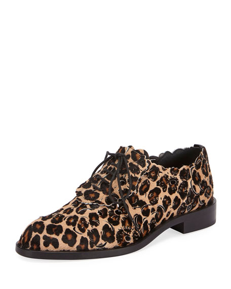 Roger Vivier Laser-Cut Lace-Up Derby Oxford, Leopard