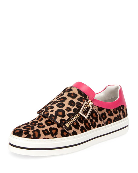 Sneaky Viv Calf Hair Sneaker, Leopard