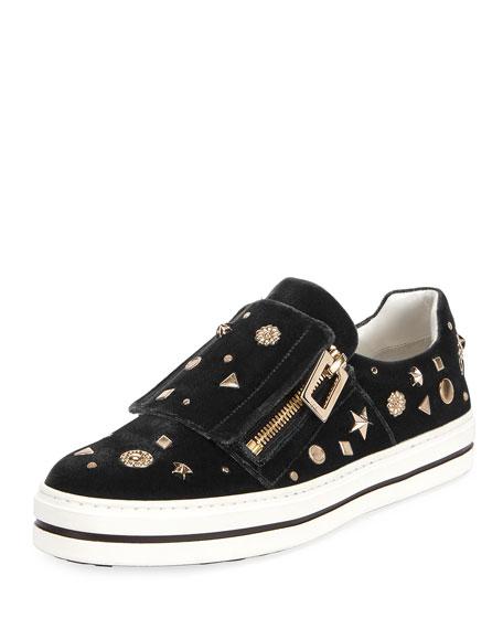 Roger Vivier Sneaky Viv Astre Studded Sneaker, Black