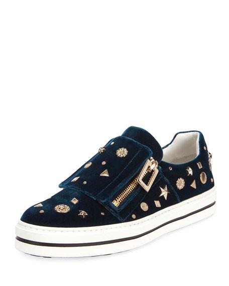 Roger Vivier Sneaky Viv Astre Studded Sneaker, Turquoise