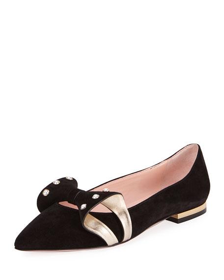 Roger Vivier Lolita Pearl Ballerina Flat, Black/Gold