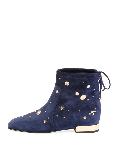 New Polly Astre Stud Bootie, Navy