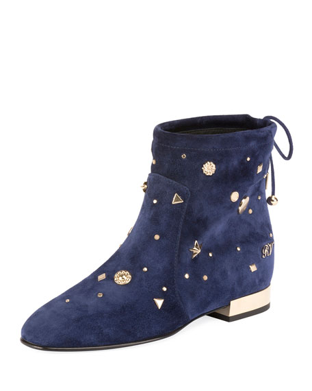 Roger Vivier New Polly Astre Stud Bootie, Navy