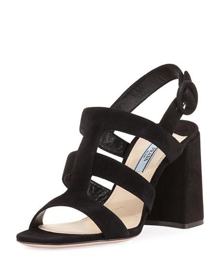 Prada Strappy Suede Slingback Sandal, Black