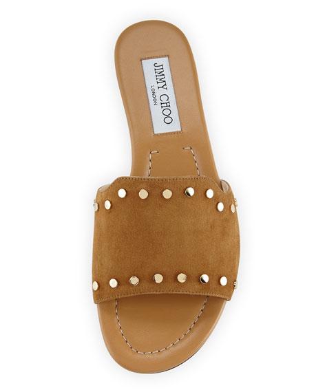 Nanda Studded Suede Flat Slide Sandal, Brown