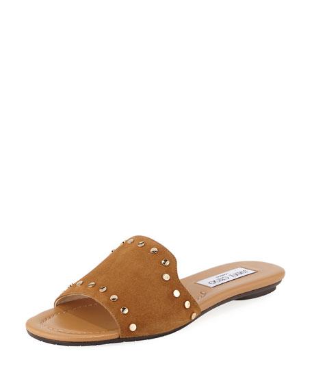 Jimmy Choo Nanda Studded Suede Flat Slide Sandal,