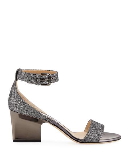 Edina Metallic Fabric Sandal, Gray