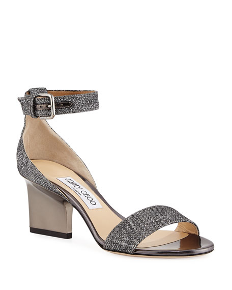 Jimmy Choo Edina Metallic Fabric Sandal, Gray