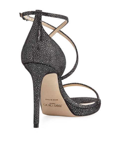 Harper Spotted 100mm Evening Sandals, Black