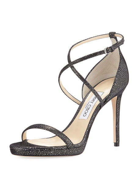 Jimmy Choo Harper Spotted 100mm Evening Sandal, Black