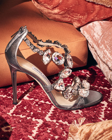 Karima Crystal 100mm Sandal, Gray