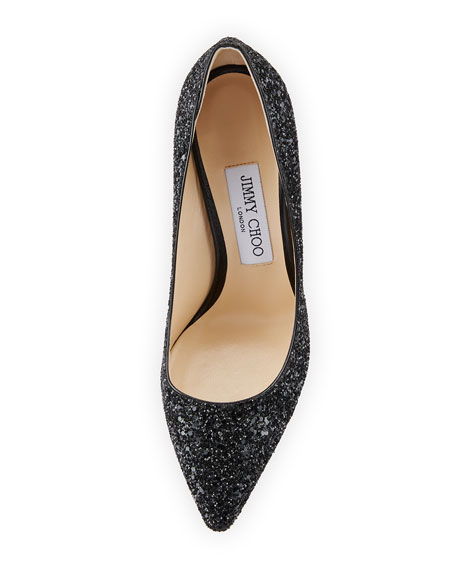 Romy 100mm Coarse Glitter Fabric Pointed-Toe Pump, Black
