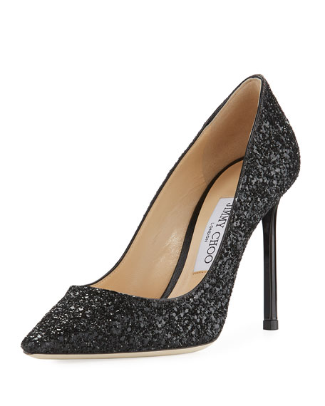 Jimmy Choo Romy Glitter Pointed-Toe 100mm Pump, Black