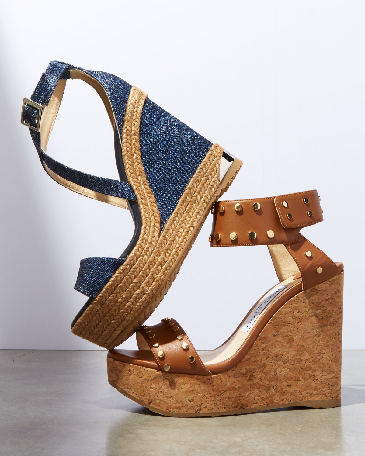 fc019197a078 Jimmy Choo Nelly Studded Cork Wedge Sandals