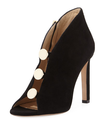 Lorna Studded Suede Open-Toe Bootie, Black