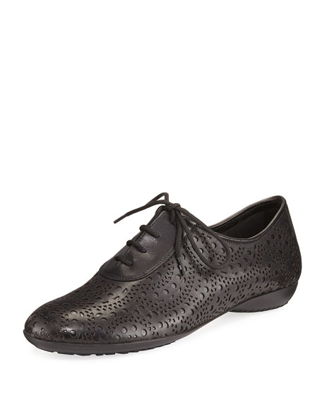Betka Laser-Cut Oxford Sneakers, Black